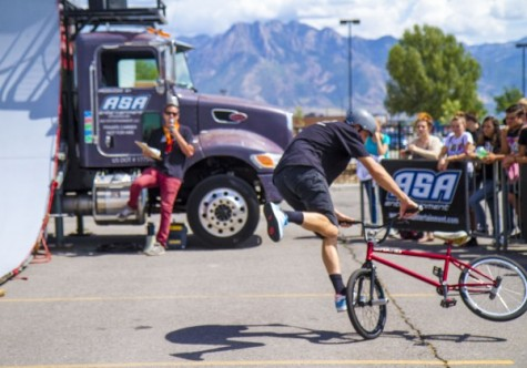 BMX performers entertain students at Anti-Bullying Assembly