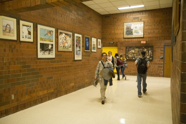 Student+artwork+from+past+decades+and+to+present+day%2C+on+display+in+upper+F+hall.