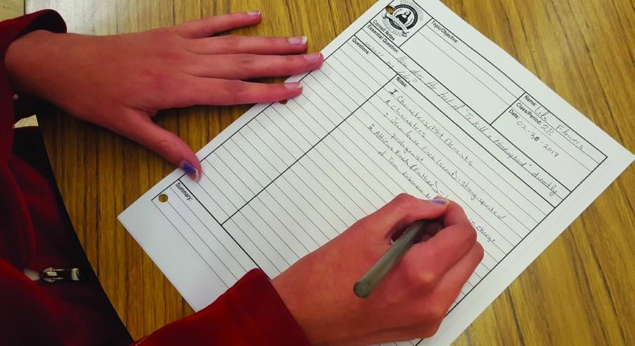 Cornell Notes followed a basic two-sided structural outline to facilitate student note-taking and studying.
