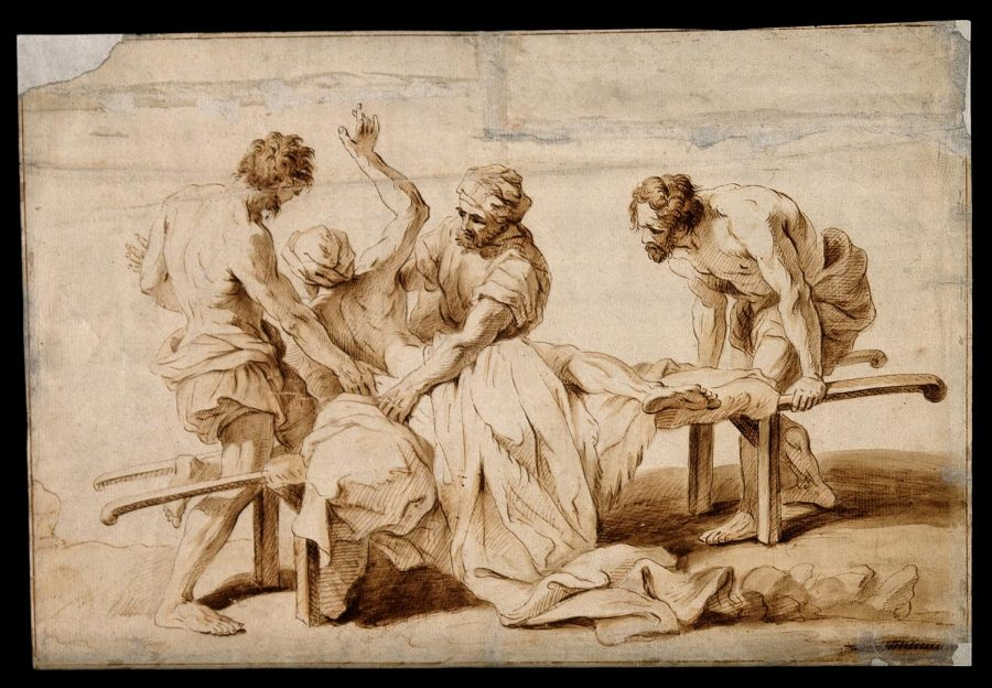 An_epileptic_or_sick_person_having_a_fit_on_a_stretcher,_two_Wellcome_V0016630