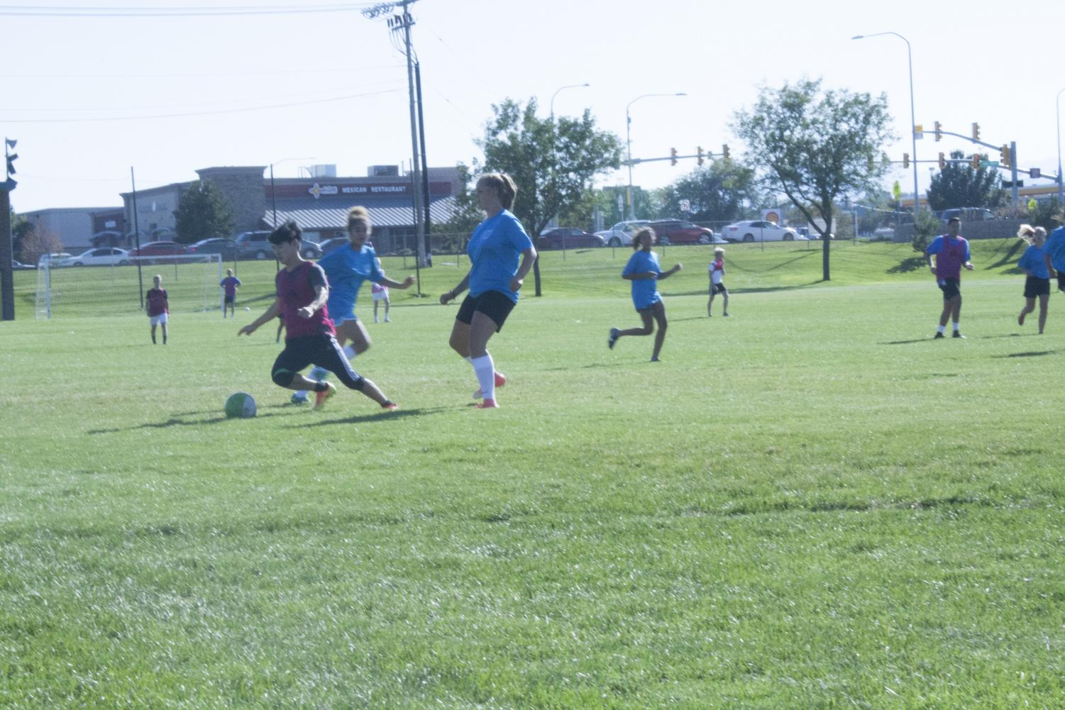 The Girls' Soccer Team practices at the school field for their upcoming games on September 27.