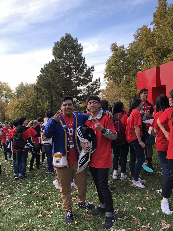 Taylorsvile high historian poses with IIHS student Ye Jun Kim