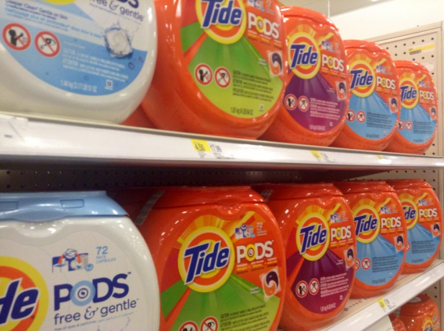 Shelf of Tide Pods readily available at local grocery store.