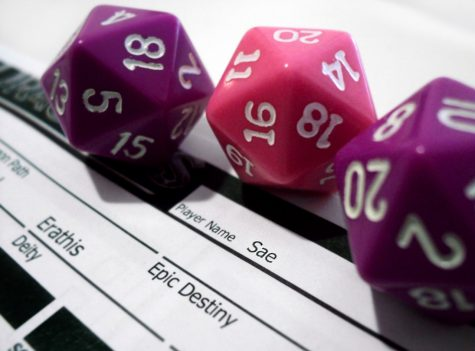 Three 20 sided dice on a character sheet for D&D.