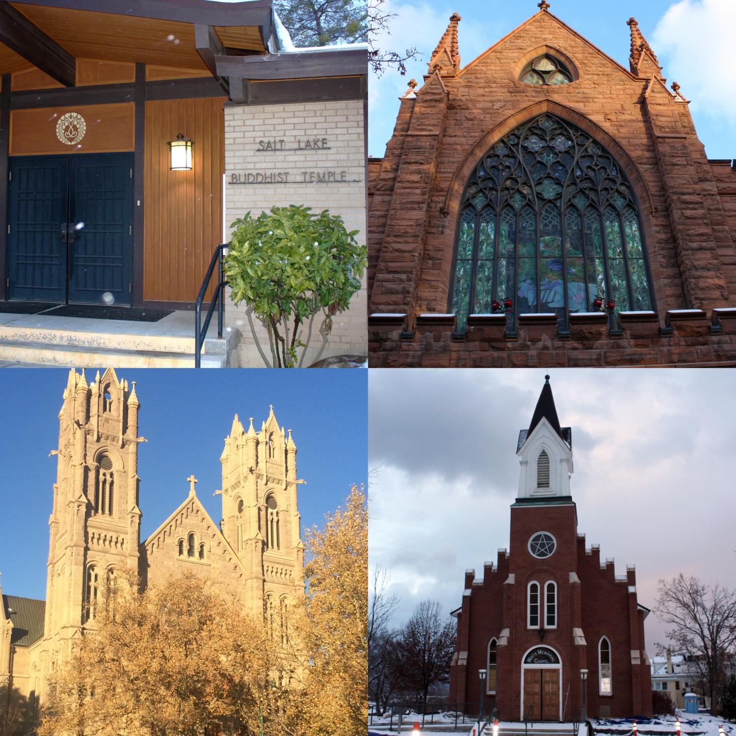Top Left: Salt Lake Buddhist Temple Top Right: First Presbyterian Church of Salt Lake City Bottom Left: Cathedral of the Madeleine  Bottom Right: White Memorial Chapel