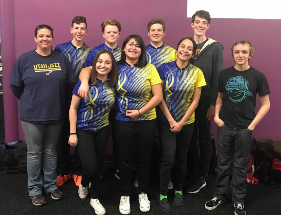 The Taylorsville High School Bowling Team; top left to right: Coach Susan Evans, Kai Evans, Jalen Vigil, Parker Alder, Jackson Alder; bottom left to right: Eva Black, Jasmin Robles, Vanessa Robles, Kyle Wolf. Missing: Brandon Evans
