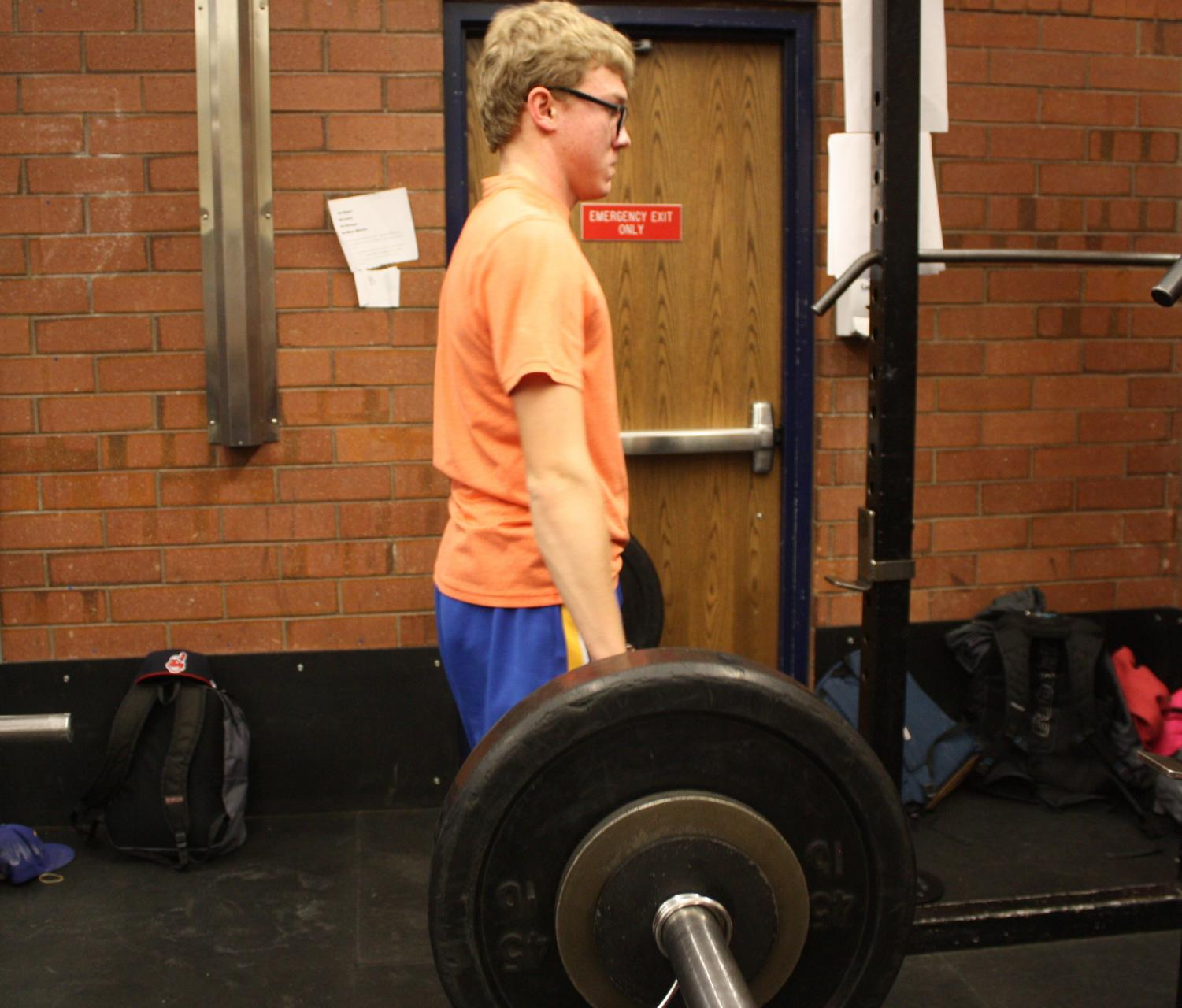 Jessie Marchant, school athlete, pictured in the wrestling room during weight training, which ensures athletes stay fit on, and off-season.