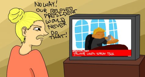 Shown is an illustration of a woman watching the news, Onscreen is President Trump with the headline,