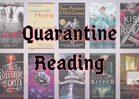 A collage of the ten books listed below to help people get through quarantine.