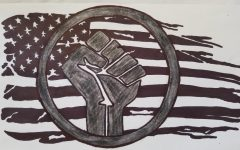 Picture of Black Lives Matter symbol over the American Flag.
