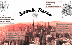 Collection of some of Simon B. Thomas' works decorated with a picture of a city and flowers.