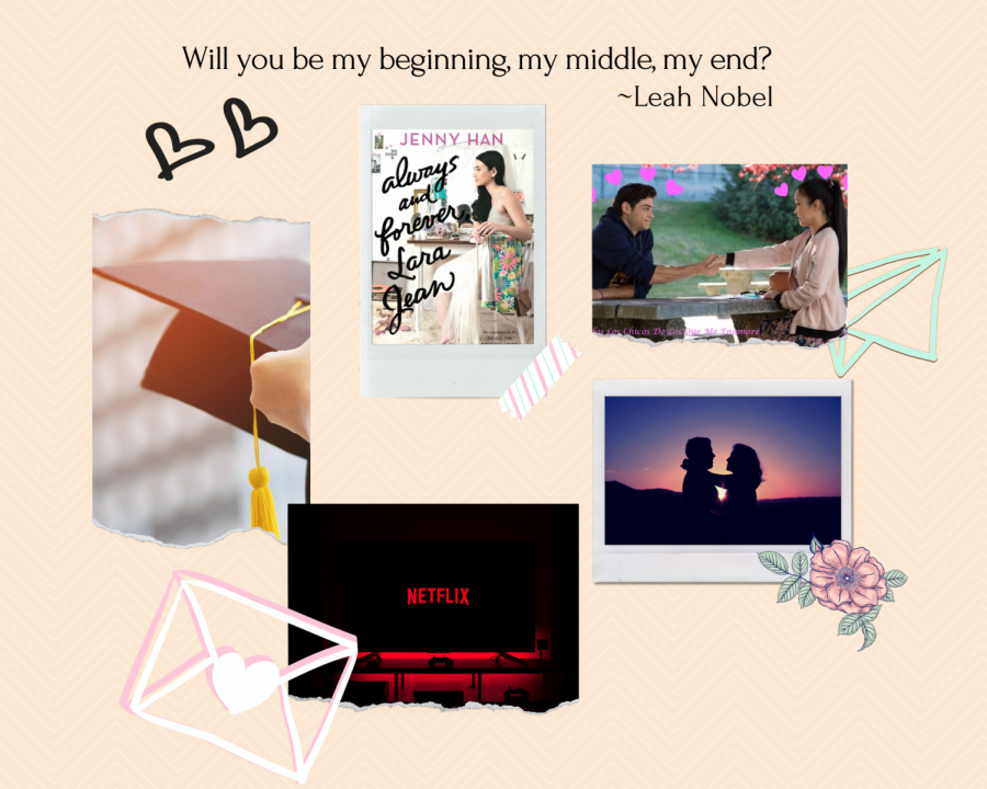 Collage of Always and Forever created via Canva that depicts the tale of Peter Kavinsky and Lara Jean Covey.