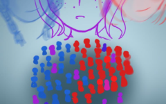 Gray dramatic backgroun, with concerned purple girl in the middle. Red and Blue versions of the purple girl. Colorful population under the purple girl. The caption is placed under the image saying Where Do I Fit?